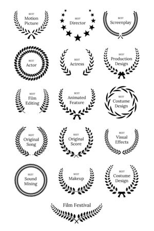 Black laurel wreath with Film Awards design elements. Premium insignia, traditional victory symbol on white background. Triumph, win poster, banner layout with award ribbons. Frame, border template.