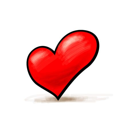 Abstract heart watercolor painting imitation vector illustration Illustration