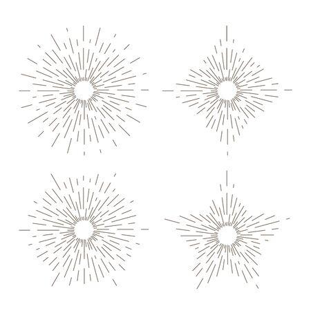 Sunburst thin line vector illustrations set