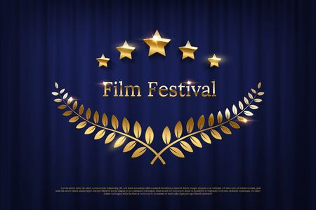 Golden shiny award laurel wreaths and Film Festival text isolated on dark blue curtain background. Vector design element. 向量圖像