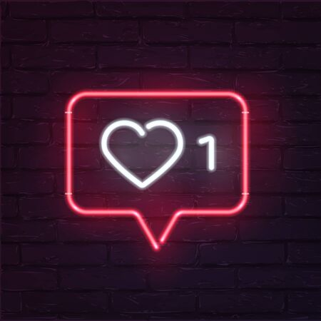 Social network activity indicators neon icon. One like quantity significative. Notification with heart, number 1 and speech cloud. Profile management, account overview. Ilustração