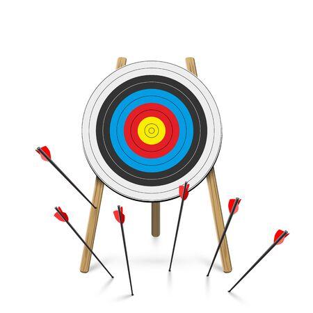 Flat arrows missed hitting target cartoon mark