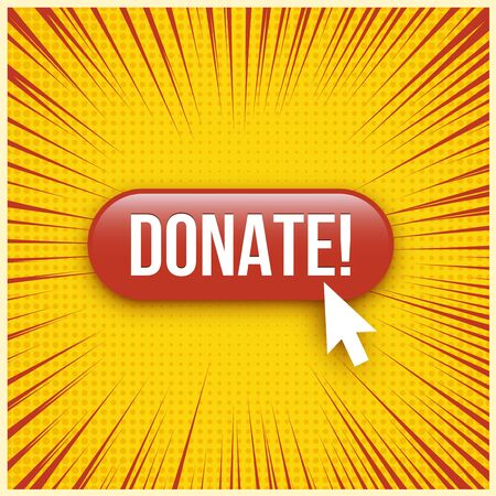 Donate red website button illustration
