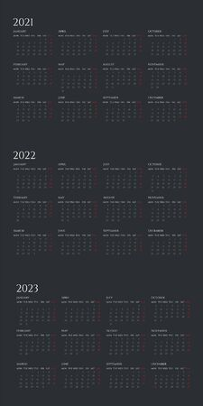 Annual calendar flat vector illustration set. Organizer template for 2021, 2022 and 2023 years. Business planner dark color design. Basic grid with text and numbers on black background. Çizim
