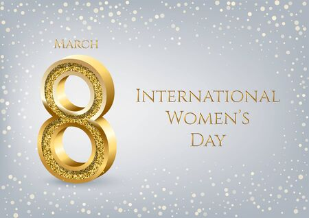 International Womens Day greeting card horizontal template. Vector golden number eight with text and confetti on gray background. 8 march luxury background.