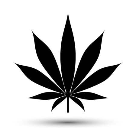 Medical flat cannabis leaf icon isolated on white Çizim