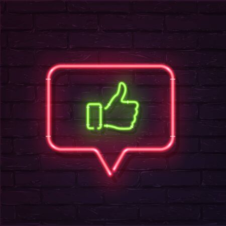 Green Thumb Up neon symbol inside red speech bubble isolated on dark brick wall background. Vector design element.