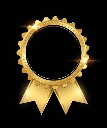 Sello de oro con copia espacio en blanco negro aislado