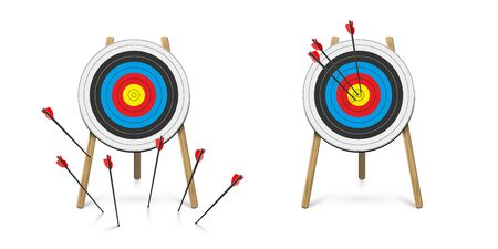 Hitting and missed target with archery arrow set Banco de Imagens - 138252277