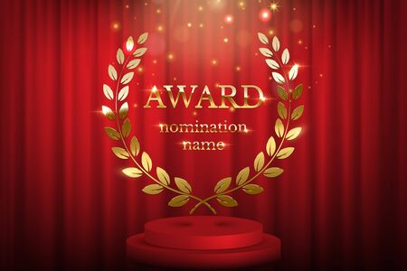 Golden award sign with laurel wreath and podium isolated on red curtain background. Vector award design template. Illusztráció