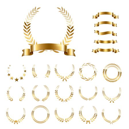 Golden laurel wreaths and ribbons set on white background. Set of foliate award wreath for championship or cinema festival. Vector illustration.