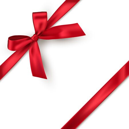 Red bow and horizontal ribbon isolated on white background. Vector decorative element. Vetores