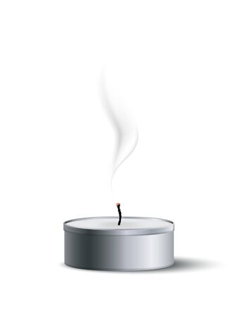 Extinguished tea candle with smoke isolated on white background. Vector design element.