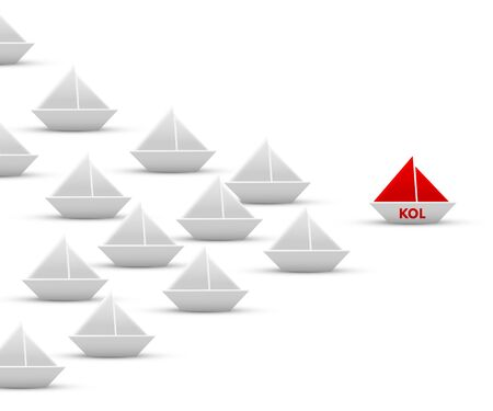 KOL paper origami ship and fleet isolated on white Vetores