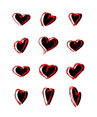 Hearts hand drawn vector illustrations set Çizim