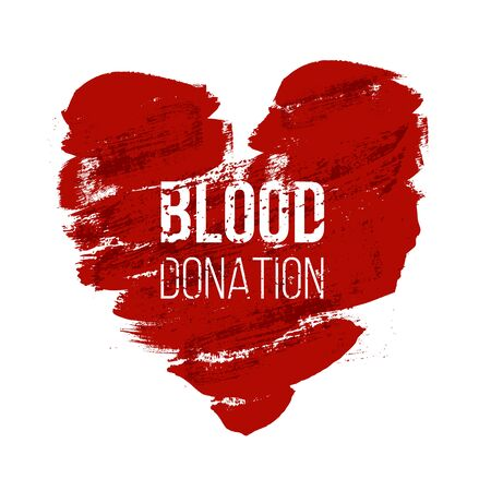 Blood donation word concept banner Çizim