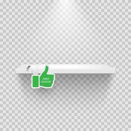 Estante con pulgar hacia arriba verde en espacio transparente