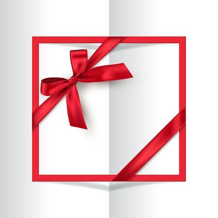 Marco rojo de vacaciones con lazo en el fondo del libro. Postal de vector o plantilla de tarjeta de felicitación.
