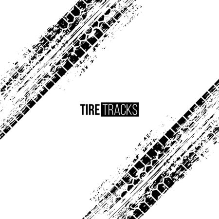 Tire tracks vector illustration. Black grunge automobile wheel imprints on white background. Dirty motorcycle prints silhouette. Wheel tire dirty marks. Car racing competition poster design Çizim