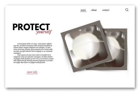 Safe and reproductive health vector webpage template. Two condoms package on white landing page with text.
