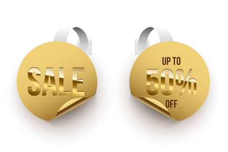 Realistic sales tags in golden circle design set