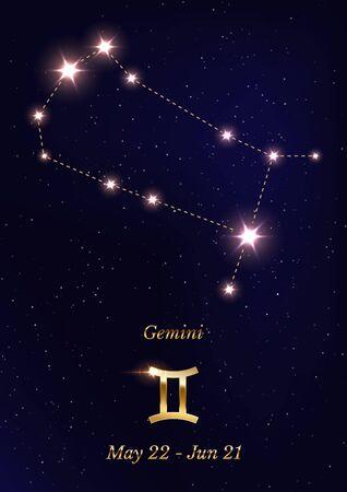 Gemini constellation vector poster template