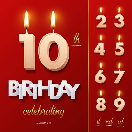 Burning Birthday candle in the form of number 10 figure and Happy Birthday celebrating text with numbers set isolated on red background. Vector Birthday invitation template.