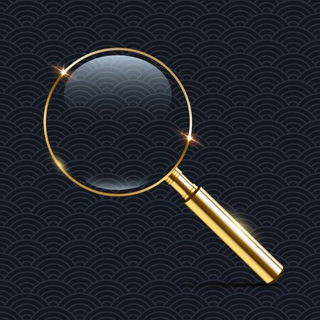 Vector realistic golden magnifier isolated on dark pattern background. Çizim