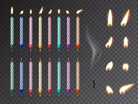 Decorative birthday candles realistic mockup set