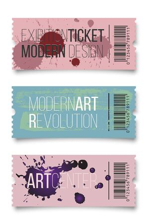 Exhibition ticket flat vector illustrations set. Modern art center invitation concept with typography. Artistic show advertising, entertainment event promotion. Creative coupon with paint stains Çizim