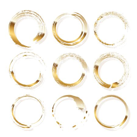Golden frames made of brush stroke rings isolated on white background. Vector design elements set