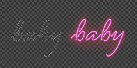 Handwritten baby neon pair lettering flat banner Vector Illustration