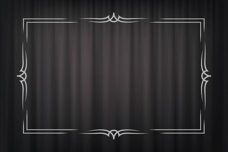 Vintage border in silent film style isolated on dark grey curtain background. Vector retro design element.