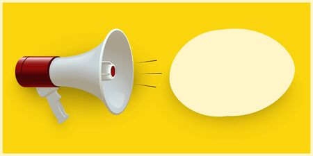 Red and white realistic megaphone and blank oval speech bubble isolated on yellow pop art background. Vector 3d bullhorn illustration.