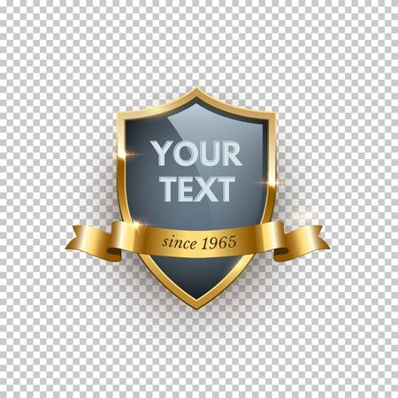 Premium badge realistic vector illustration. Golden label with ribbon and text space on transparent background. Luxurious golden emblem, insignia concept. Brand marketing design element