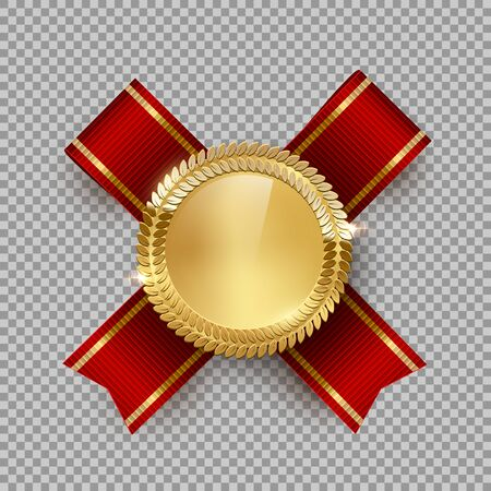 Award medal 3d realistic vector color illustration. Reward. Golden medal with red ribbon. Certified product. Quality badge, emblem on transparent background. Winner trophy. Isolated design element. Çizim