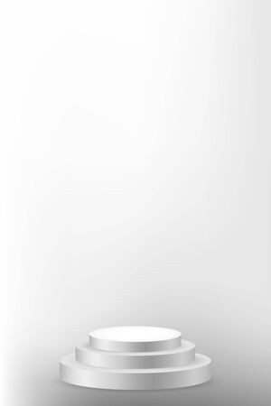 Realistic white podium isolated on gradient space