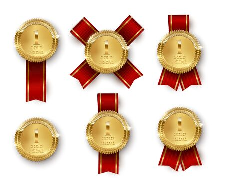 Golden medal 3d realistic vector illustrations set