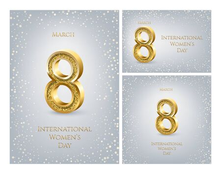 International Womens Day greeting card templates set. Vector golden number eight with text and confetti on gray background. Different proportions 8 march luxury backgrounds.