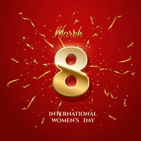 Vector International Womens Day greeting card template. Number eight with sparkling gold ribbons and confetti on red background. 8 march luxury background.