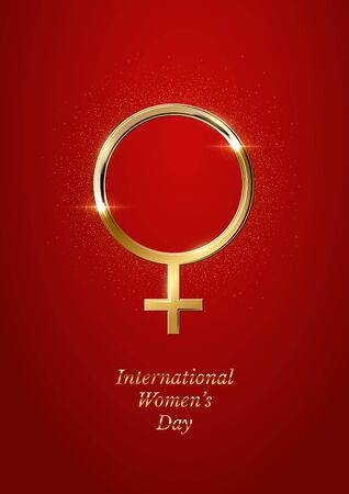 Vector International Womens Day greeting card template. Golden Venus sign with International Womens Day text on red background. 8 march luxury layout. Иллюстрация
