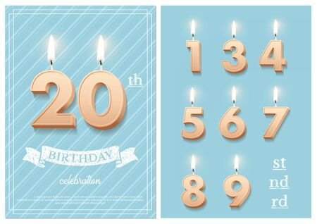 Burning number 20 birthday candles with vintage ribbon, birthday celebration text on textured blue backgrounds postcard format. Vector vertical twentieth birthday invitation template and numbers set.