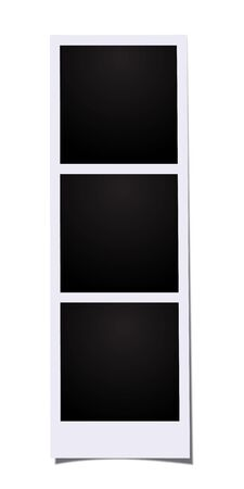 Triple photo vector template. Three blank frames photo booth images isolated on white background.