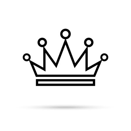 Black Crown icon isolated on whine background. Vector design element. 일러스트