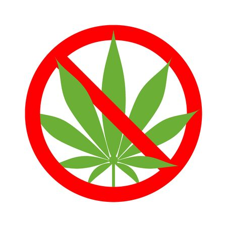 Cannabis stop no marijuana sign isolated on white Stock Illustratie