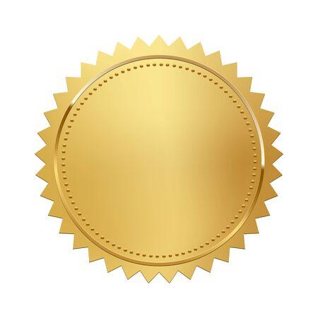 Golden stamp isolated on white background. Luxury seal. Vector design element. Ilustración de vector