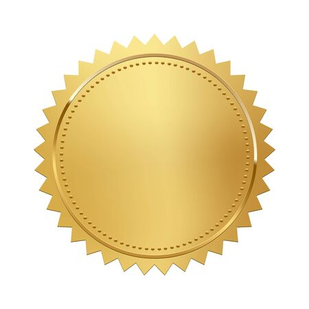 Golden stamp isolated on white background. Luxury seal. Vector design element. Vetores