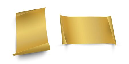 Golden vertical and horizontal paper sheets with curled edges isolated on whine background. Vector design elements 일러스트