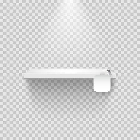 Leeres Regal mit leerem weißen quadratischen Tag einzeln auf transparentem Hintergrund.