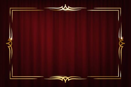 Vintage golden border isolated on red curtain background. Vector retro design element. Ilustração Vetorial